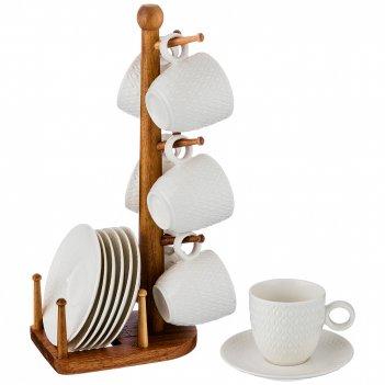 Кофейный набор на 6 персон 12 пр. на деревянной подставке объем чашки= 100
