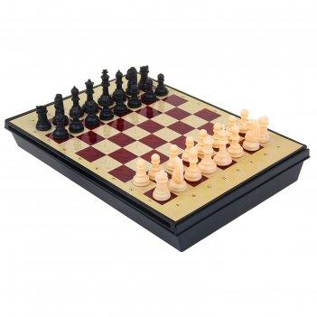 Игра настольная шахматы, с ящиком, магнитные, в коробке