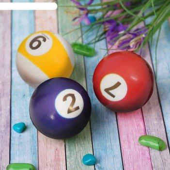 Мяч мягкий пластик цифры 5 см цвета микс