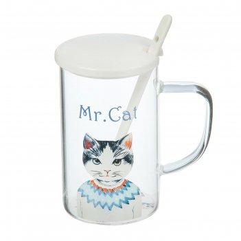 Кружка 350 мл мистер кот, с крышкой и ложкой, цвета микс