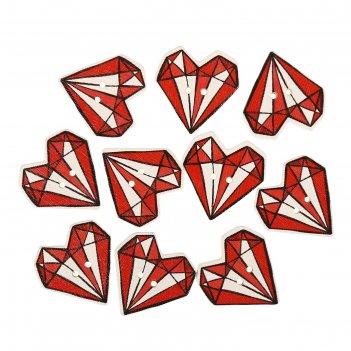 Пуговица декоративная дерево сердце-бриллиант 2,4х2,4 см фасовка 10 шт