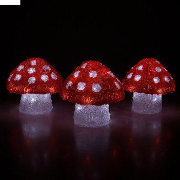 Фигура акрил. три гриба 16х15см, 20 led, 240v белый