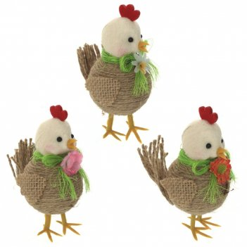 Фигурка декоративная цыпленок, l6 w9 h10,5 см, 3в.