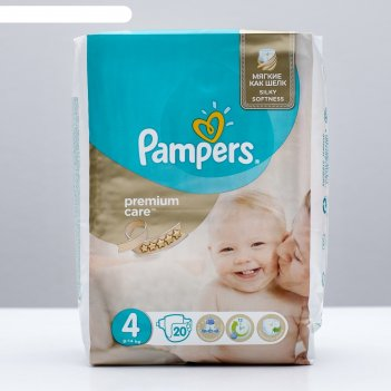 Подгузники pampers premium care, maxi 4 (8-14 кг), 20 шт.