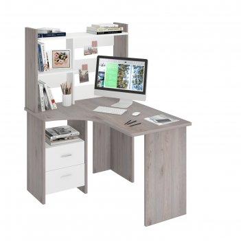 Компьютерный стол, 1000 x 1200 x 1520 мм, левый угол, цвет нельсон/белый