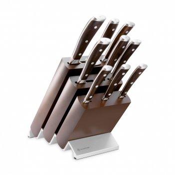 Набор из 7-ми кухонных ножей с мусатом и вилкой на деревянной подставке,