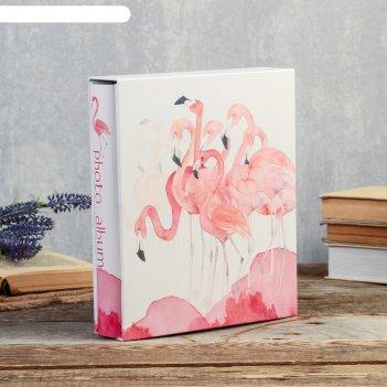 Фотоальбом на 200 фото 10х15 см фламинго акварелью в коробке 26х21,5х5,5 с