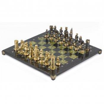 Шахматы камелот бронза змеевик 400х400 мм