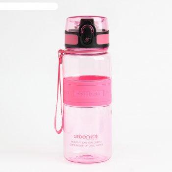 Бутылка для воды freedom, 480 мл, вставка резиновая, на шнурке, микс, 6.5х