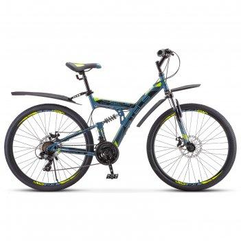 Велосипед 27,5 stels focus md, v010, цвет серый/желтый, размер 19