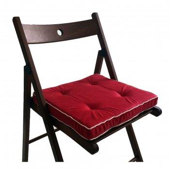 Подушка на стул 38х38 см, h 5 см, цвет красный, велюр, поролон, кант