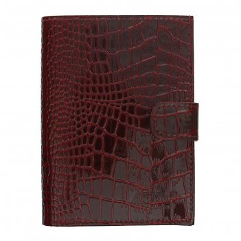 Обложка для автодокументов+бумажник, крокодил бордовый