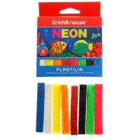 Пластилин neon 8цв 120гр, картон с европодвесом, ek 37273