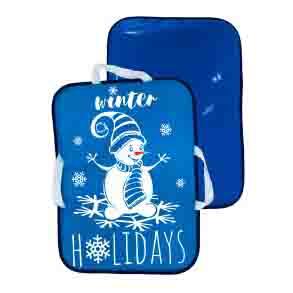 Мт13617 сани-ледянка прямоугольная снеговик цвет голубой, 56*42см