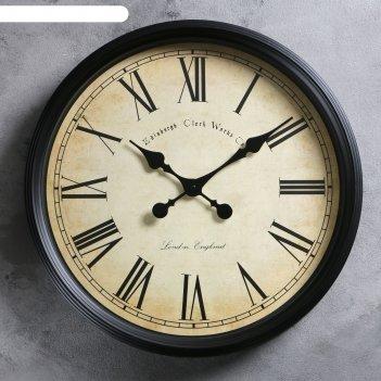Часы настенные классика пластик черные под старину, римские цифры 50*50см
