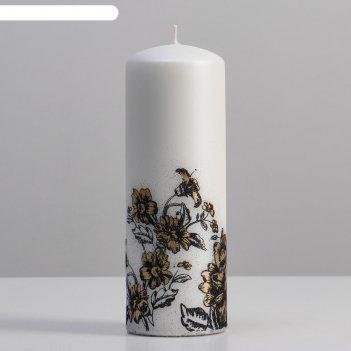 Свеча - цилиндр пионы, 7х20 см, белый матовый металлик