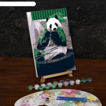 Картина по номерам на холсте панда, 30*20 см