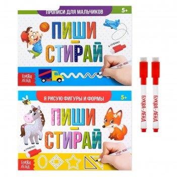 Набор многоразовых книг с маркером 2 шт пиши- стирай. для мальчиков 12 стр
