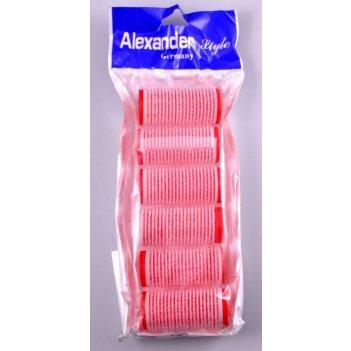 Набор 1128 бигуди-липучки 30 мм красные (6 шт)
