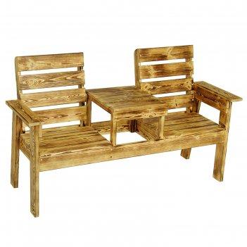Скамейка со столиком, обожжённая, хвоя, 96 х60х160см