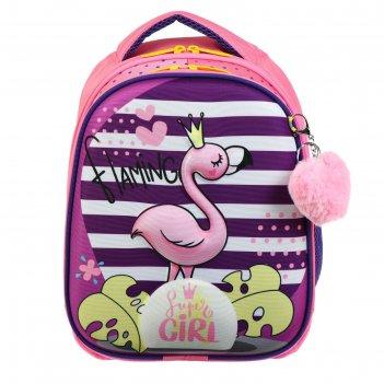 Рюкзак каркасный luris 38 х 28 х 18 джерри 4 3d, для девочки фламинго, роз