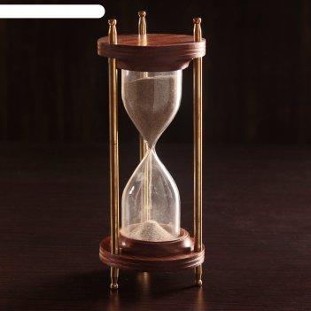 Песочные часы латунь дерево мираж (5 мин) 9х9х21,5 см