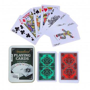 Карты игральные пластик poker range, 54 шт, 8.8х5.8 см, 28 мкр, микс