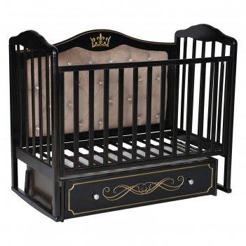 Кроватка «кедр» helen-7, мягкая спинка, ящик, цвет шоколад