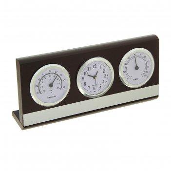 Набор настольный 3в1: часы, термометр, гигрометр 10,5*22см