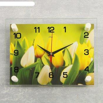 Часы настенные, серия: цветы, тюльпаны, 20х26 см  микс
