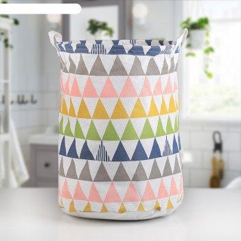 Корзина для белья 35x35x45 см цветные треугольники рисунок микс