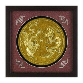 xms-2192 картина золотая тарелочка дракон и феникс