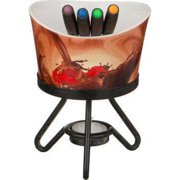 Набор фондю : чаша+4 вилочки+свеча+метал подставка диаметр=12 см.(кор=24на