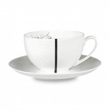 Пара чайная, объем: 200 мл, материал: костяной фарфор, цвет: белый, черный
