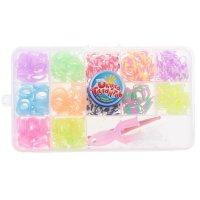 Резиночки для плетения, набор из 12-ти цветов с блестками по 40 шт., пяльц