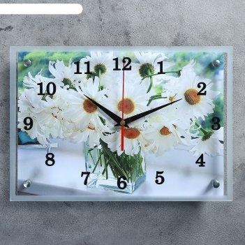 Часы настенные, серия: цветы, ромашки в прозрачной вазе25х35 см, микс