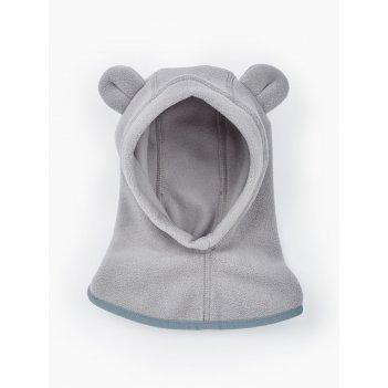 Шапочка-шлем флисовая серый / grey, рост 80-86