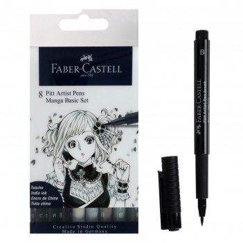 Ручка капиллярная набор faber-castell pitt® artist pen manga 8 шт./brush 6