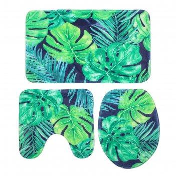 Набор ковриков для ванной и туалета листья 3 шт, цвет микс
