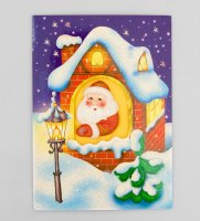 16057 открытка дед мороз в окошке