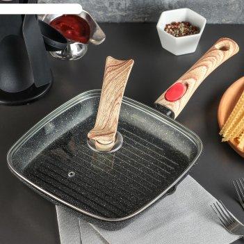 Сковорода-гриль литая гранит 24,5х3,5 см стекл. крышка, съемная ручка, инд