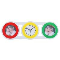 Часы настенные хайтек + 2 втсавки для фото (1,5*1,5см) белые с цветными кр