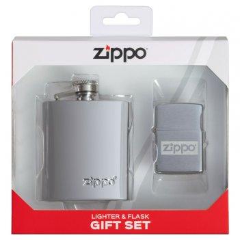 Подарочный набор zippo: фляжка 89 мл и зажигалка, латунь/сталь, серебристы