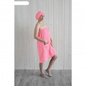 Набор женский для сауны (парео+чалма) с вышивкой, розовый