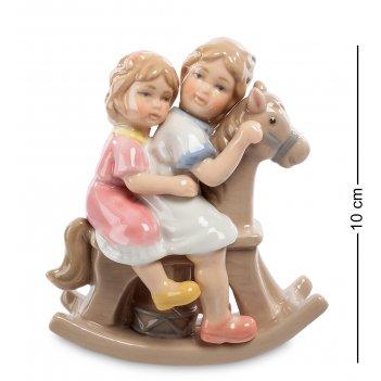 Cms-12/26 статуэтка девочки на лошадке (pavone)