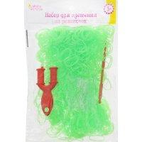 Набор плетение из резиночек зеленые с блестками 1000 шт, крючок, крепления