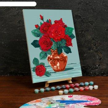 Картина по номерам на холсте с подрамником «розы» 30x40 см