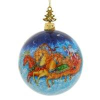 Шар елочный с новым годом тройка лошадей, 8 см