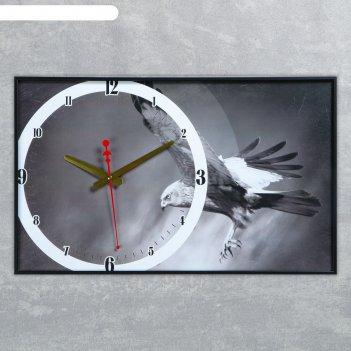 Часы на холсте орёл, 37х60 см (стрелки микс)