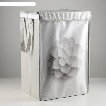 Корзина для белья с крышкой, складная белоснежка, 34х30,5х52 см